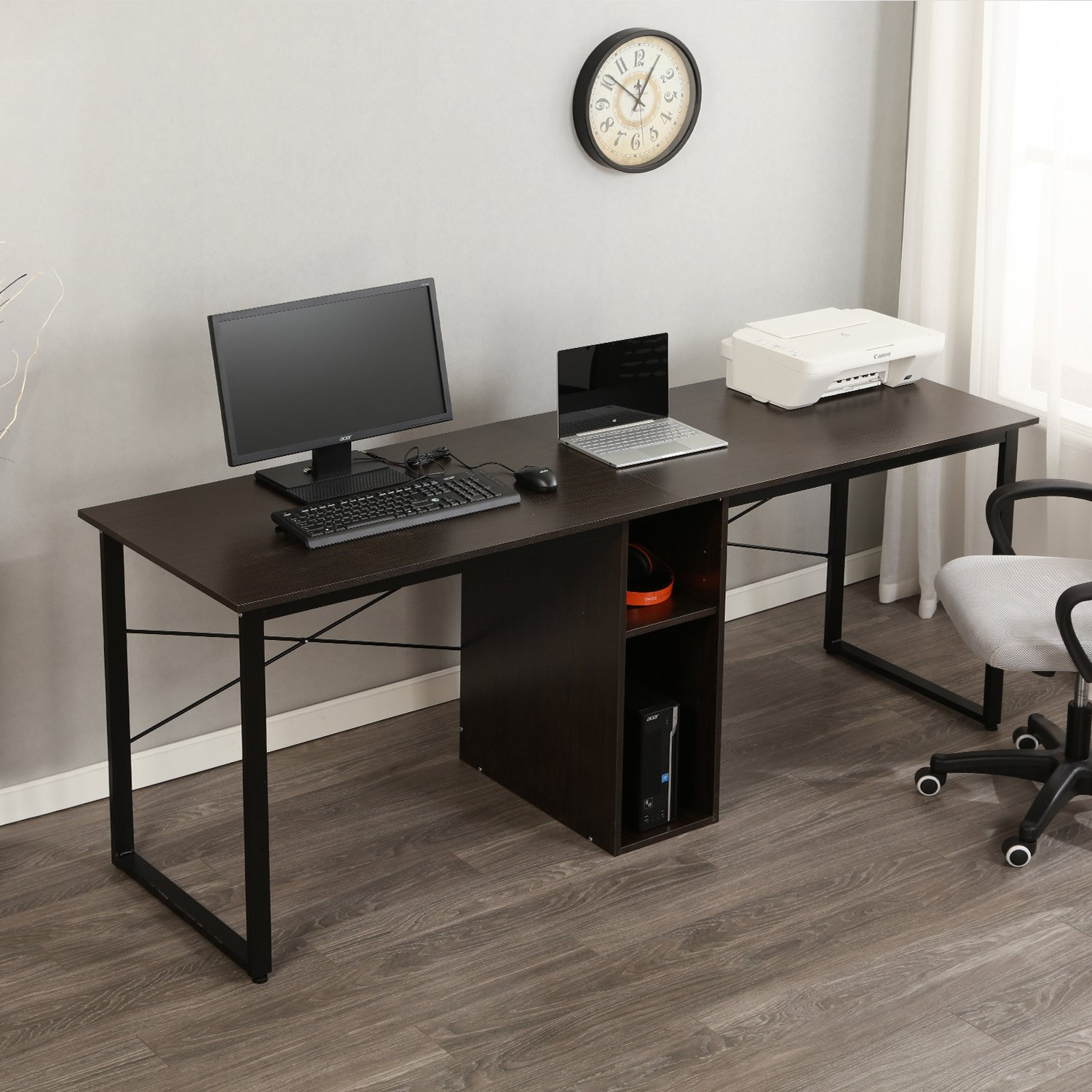 Soges Large Double Workstation Desk, 78 inches Dual Desk 2-Person Computer Desk, Home/Office Desk/Writing Desk with Shared Storage, Black LD-H01 by soges