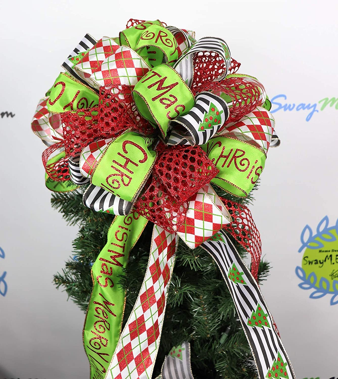 Car Christmas Tree Topper.Amazon Com Merry Christmas Tree Topper Bow Red Lime Green