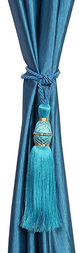 Decorista 2 Piece Polyester Curtain Tassels -15 cm x 2 cm x 2 cm, Blue