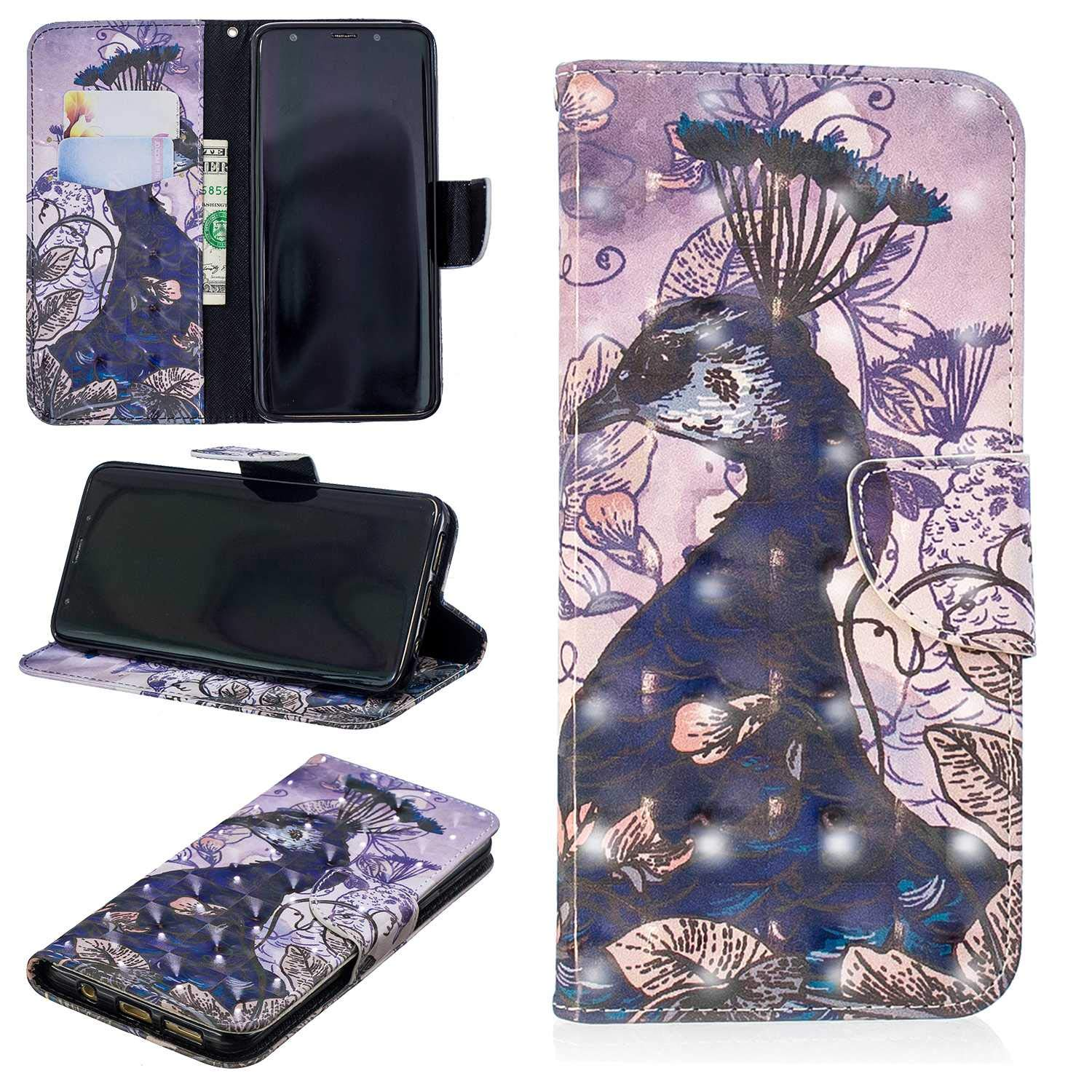 CUSKING Galaxy S9 Plus Case, Premium 3D Design Wallet Case Stand Flip Case with Card Holders and Magnetic Closure, Multi-Functional Shockproof Case for Samsung Galaxy S9 Plus - Peacock