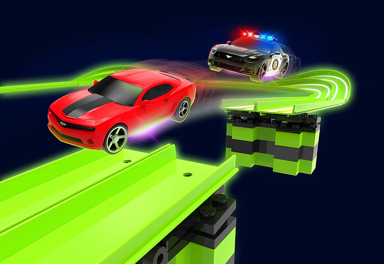 Tracer Racers R//C High Speed Remote Control Police Stunt Speedway Officially Licensed Ford Mustang vs Chevy Camaro Glow Track Set