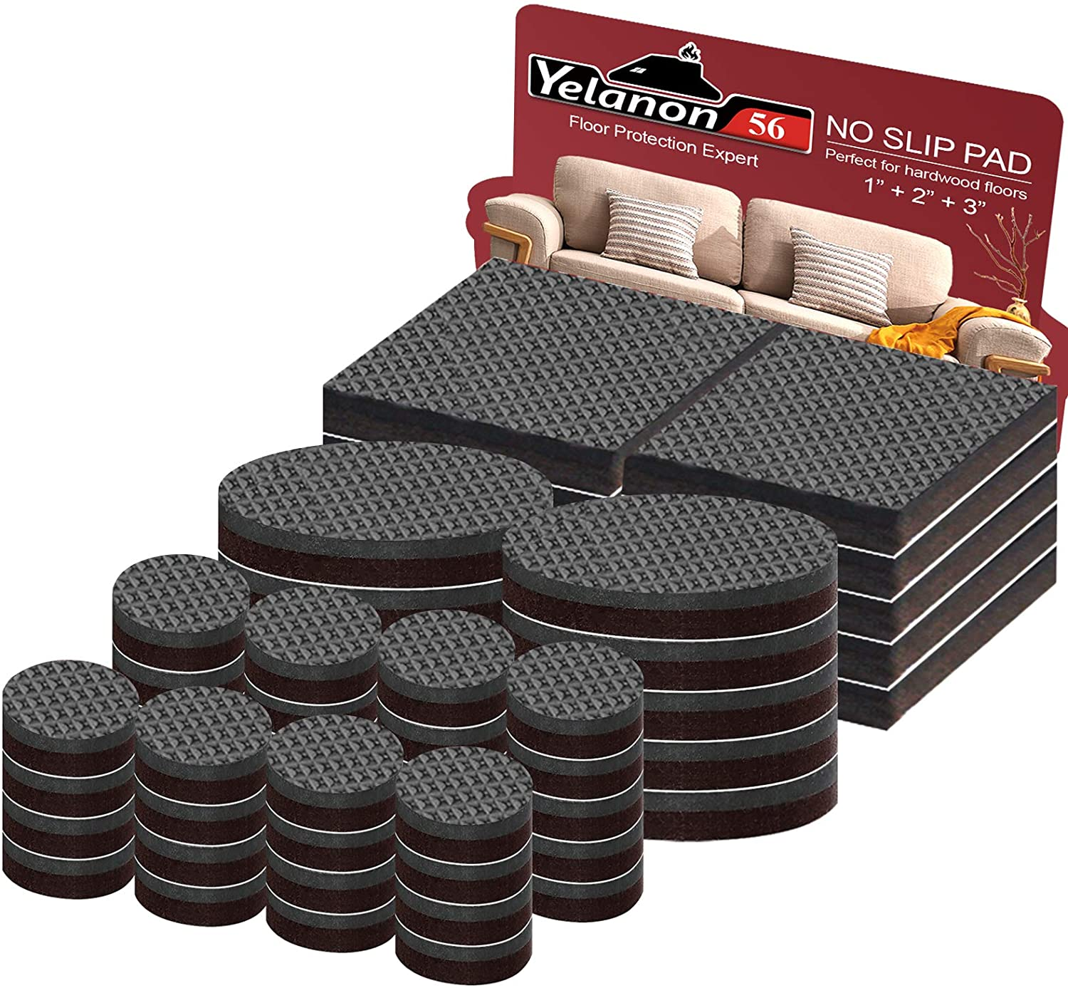 """Yelanon Furniture Pads (56) - 36pcs 1"""" + 20pcs 2"""" Non Slip Furniture Pads Self Adhesive Rubber Feet Furniture Grippers - Anti Skid Floor Protectors for Hardwood - Protector for Floor Chair Legs"""