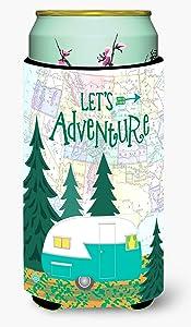 Caroline's Treasures VHA3003TBC Let's Adventure Glamping Trailer Tall Boy Beverage Insulator Hugger, Tall Boy, multicolor