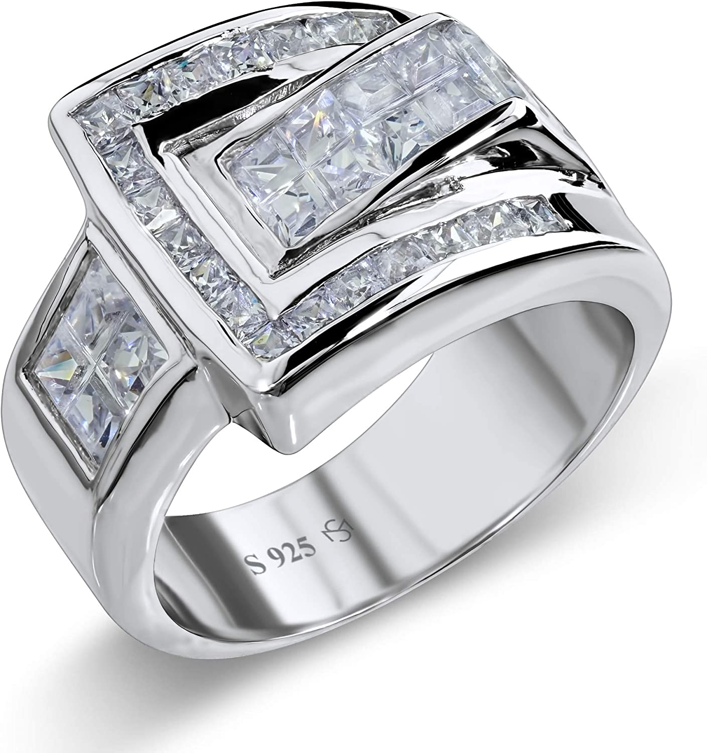 [2-5 Days Delivery] Men's Elegant Sterling Silver .925 Designer Ring with Fancy Cubic Zirconia (CZ) Invisible and Channel Set Stones, Platinum Plated. By Sterling Manufacturers