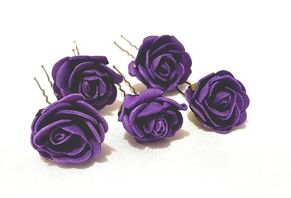 5 Mini Purple Roses Artificial Hair Flower Pins W268Y