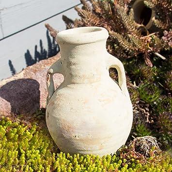 Ánfora con asa como dispensador de agua para jardín y plantas de balcón./Jardín Decoración de terracota (H 22 cm): Amazon.es: Jardín