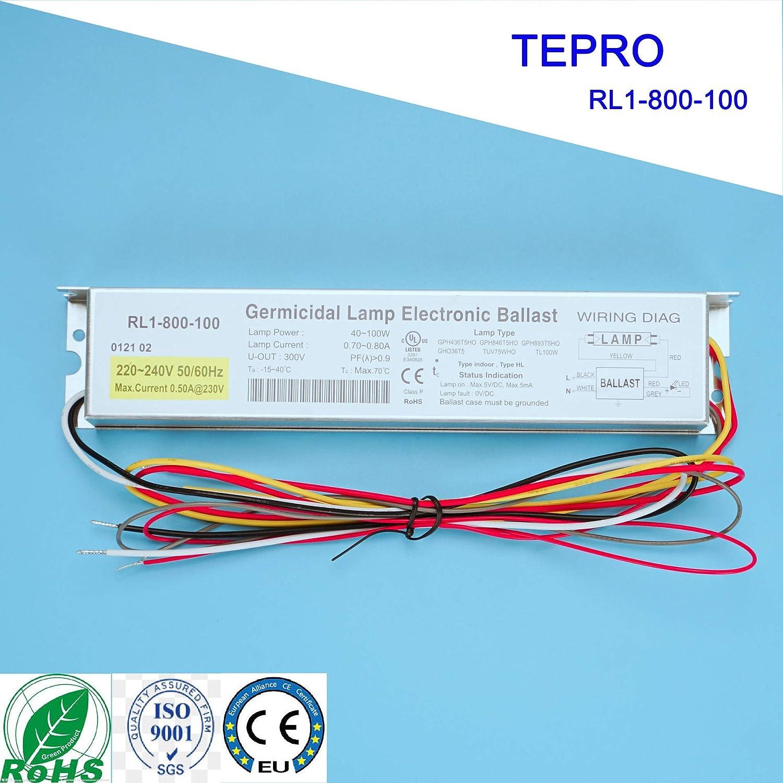 TEPRO RL1-800-100 220-240V 40-100W Lampada Reattiva Elettronica Stabilizzatori per Lampada UV GPH436T5HO GPH846T5HO GPH893T5HO GHO36T5 TUV75WHO TL100W