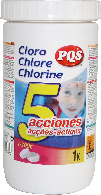 PQS Cloro 5 acciones Piscina. Bote 1 kg: Amazon.es: Jardín