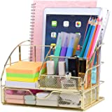 Upgraded Desk Organizer for Women, Cute Mesh Office Supplies Accessories Essentials Caddy with Drawer for Home & Office…