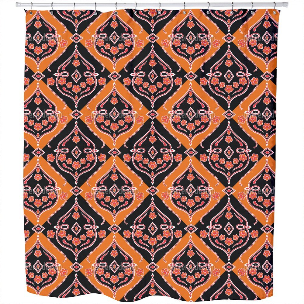 Uneekee Folkloria Orange Shower Curtain: Large Waterproof Luxurious Bathroom Design Woven Fabric