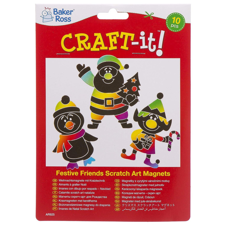 018ca7e83 Baker Ross Festive Friends Scratch Art Magnets (Pack of 10) Kids Christmas  Crafts Decorations