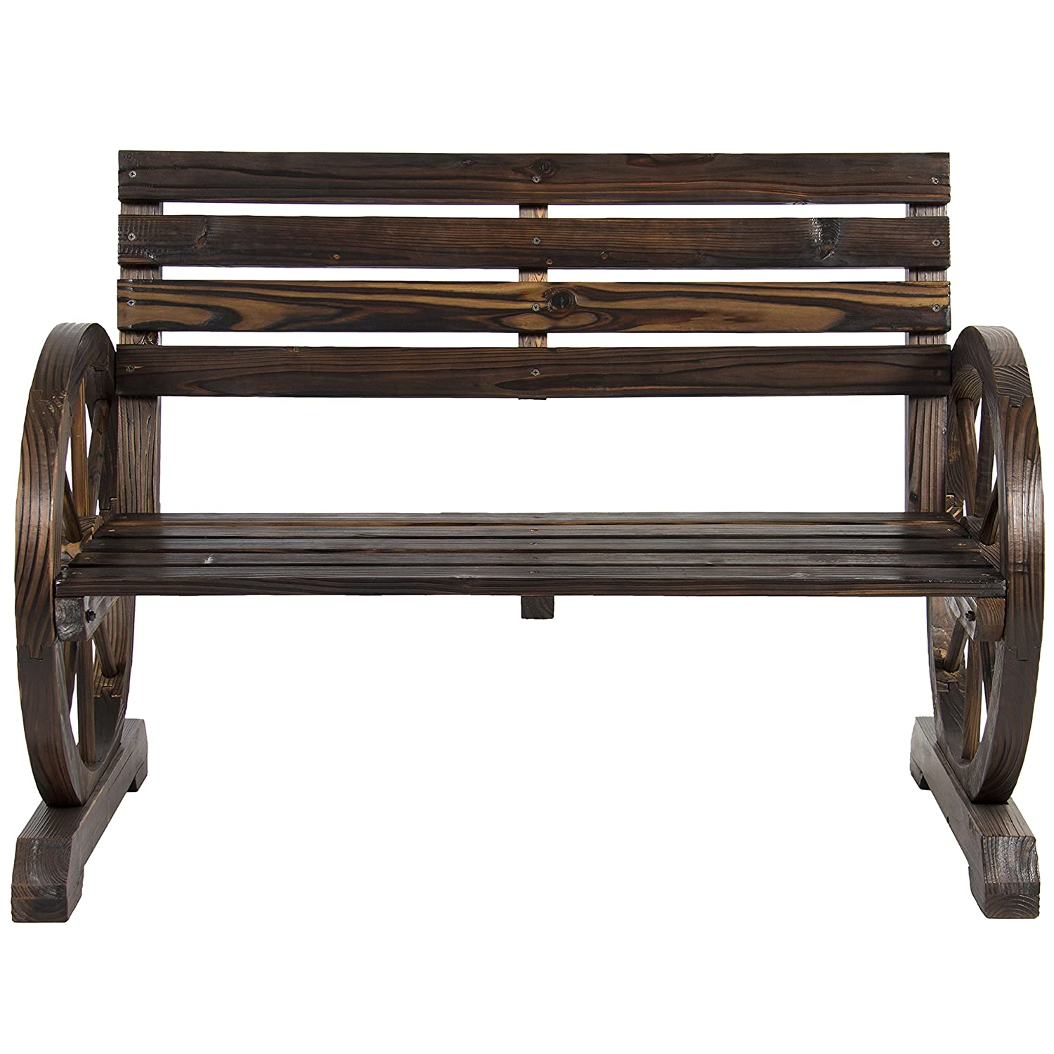 wooden design furniture. Amazon.com : Best Choice Products Patio Garden Wooden Wagon Wheel Bench Rustic Wood Design Outdoor Furniture \u0026 T