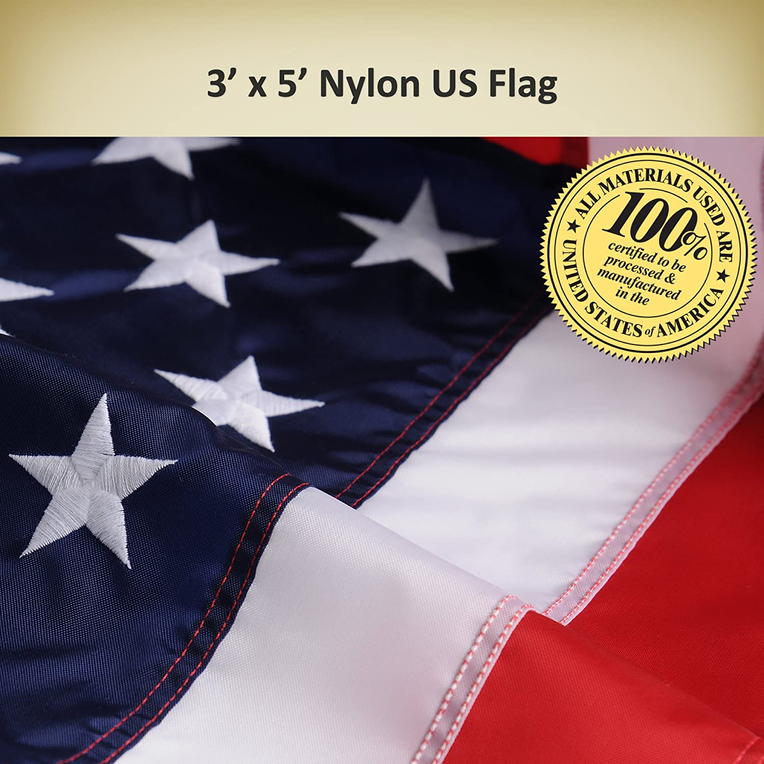 Amazon.com : Allied Flag American Home Nylon 3 by 5-Feet US Flag Set ...