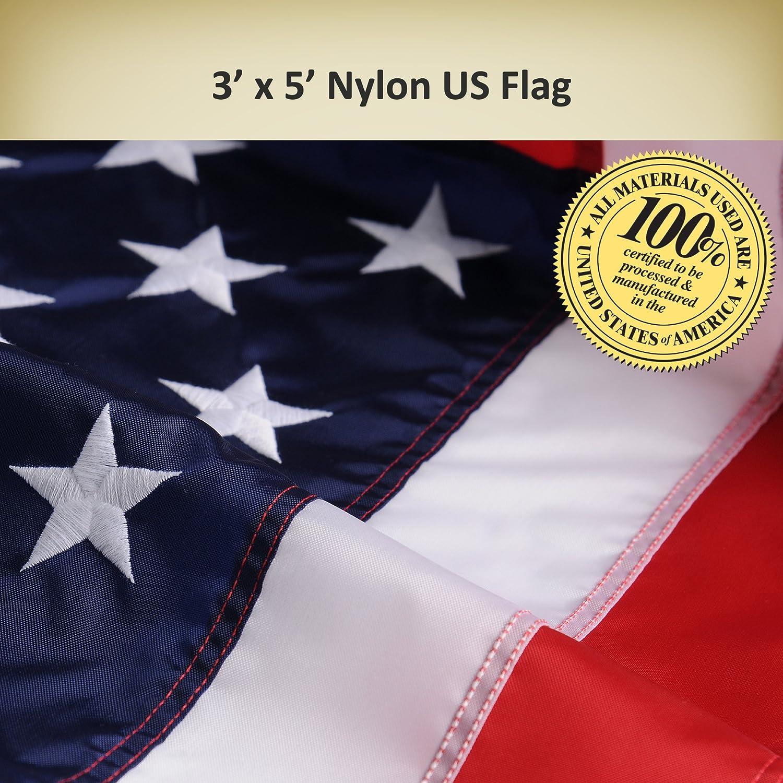 Amazon.com : Allied Flag American Home Nylon 3 by 5-Feet US Flag ...