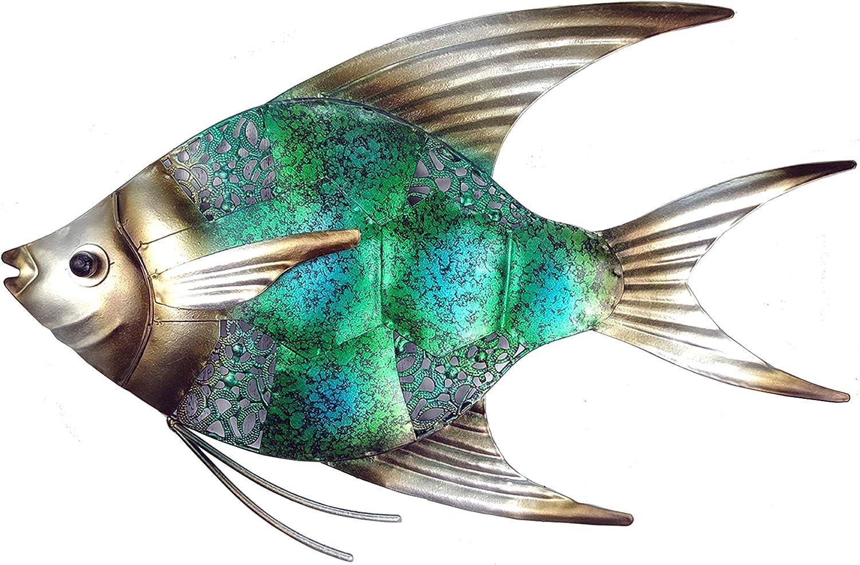 JOYBee 12.5inch Coastal Ocean Sea Metal Fish Wall Art Decor -Perfect for Coastal,Nautical,Beach,or Boat Decor-Metal Wall Decor-for Garden Home Patio Bathroom Kitchen