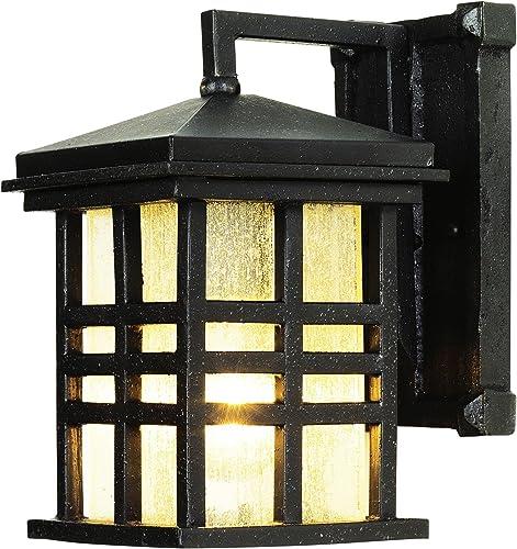 Trans Globe Lighting Trans Globe Imports 4635 BK Craftsman Mission One Light Wall Lantern from Huntington Collection in Black Finish