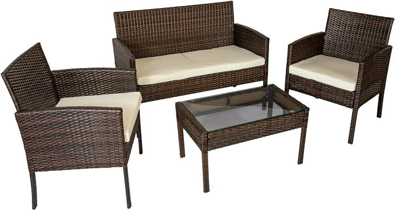 HomeSouth - Conjunto de mesa baja, 2 sillas y un sofá dos plazas de jardín, mesa de centro fija, mueble de exterior, modelo Brasil, medidas mesa: 71,5 cm (ancho) x 41,5 cm (fondo) x 41 cm (alto)