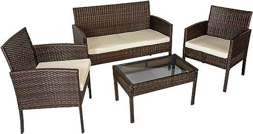 HomeSouth - Conjunto de mesa baja, 2 sillas y un sofá dos plazas de jardín, mesa de centro fija, mueble de exterior, modelo Brasil, medidas mesa: 71, 5 cm (ancho) x 41,