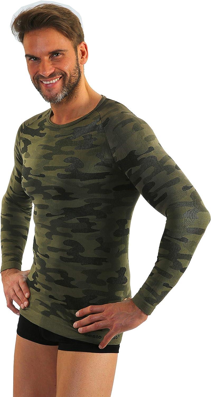 Sesto Senso Mens Camo T-Shirt Thermal Long//Short Sleeve Military Style Top