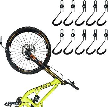 GearHooks - Gancho de almacenamiento vertical para bicicleta de garaje, soporte de pared para estacionamiento, resistente, para todo tipo de bicicletas, para ahorrar espacio, 10 unidades: Amazon.es: Deportes y aire libre