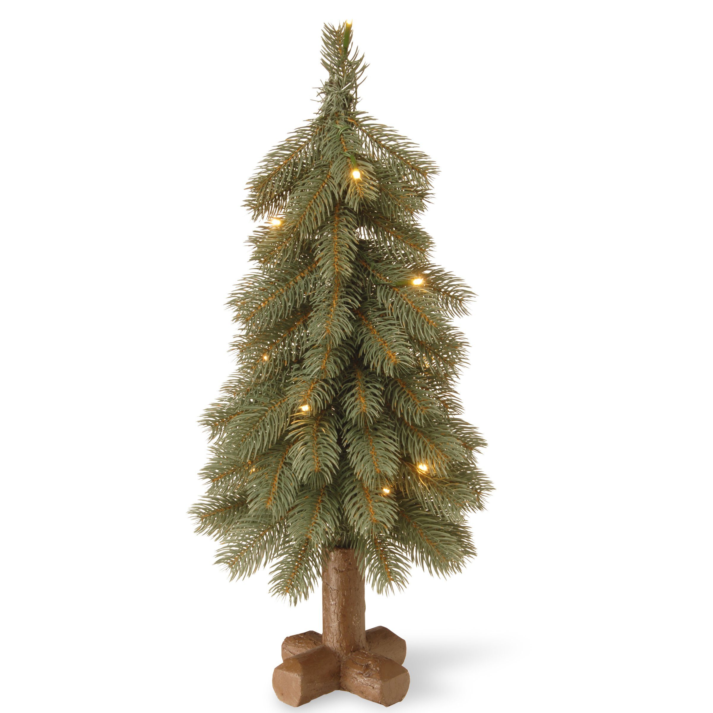 National Tree 24 Inch Feel Real Bayberry Spruce Blue Tree with 15 Warm White Battery Operated LED Lights with Timer in Cross Faux Wood Base (PEBYB1-319-24B1)