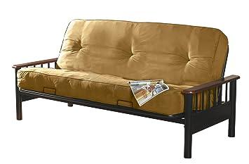 primo international blake  plete futon with wooden arms and 8 inch pocket coil mattress amazon    primo international blake  plete futon with wooden      rh   amazon