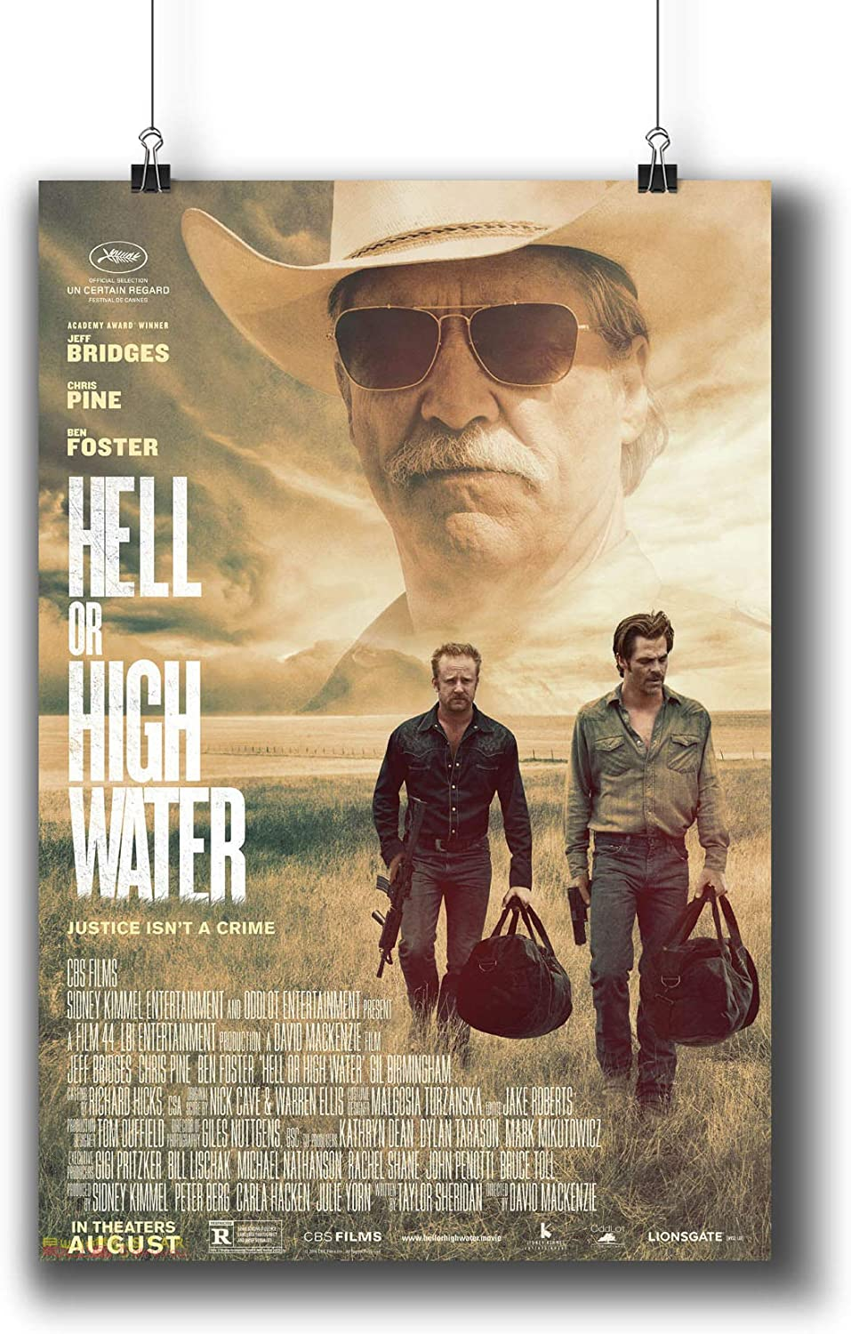 Hell or High Water (2016) Movie Poster Small Prints 834-001,Wall Art Decor for Dorm Bedroom Living Room (A3|11x17inch|29x42cm)