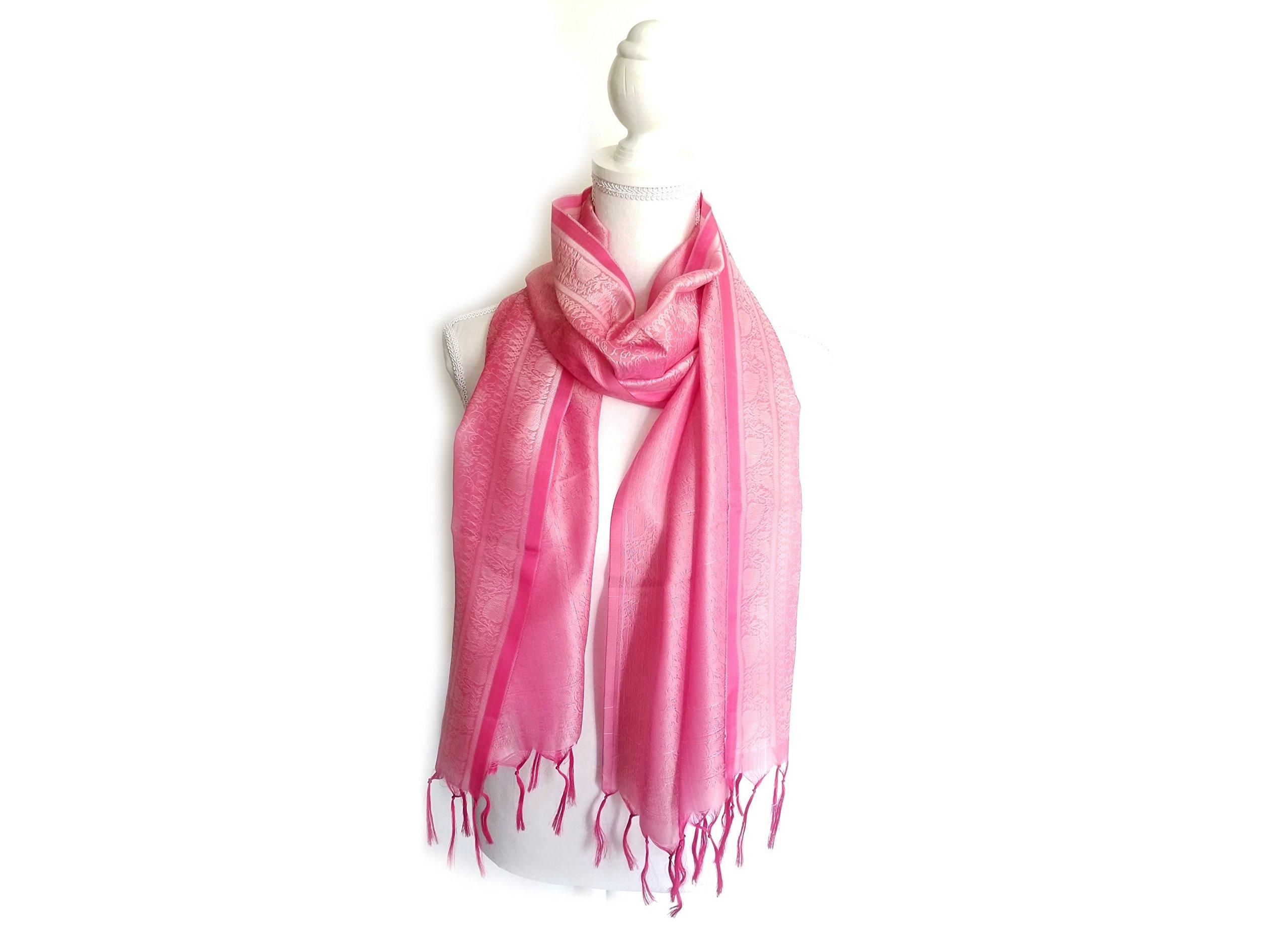 Benarasi Light Silk Scarf Shawls Wraps, Rose Pink Medium 102