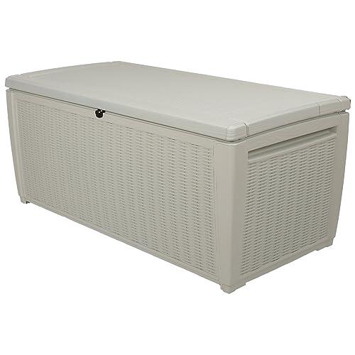 Keter Rattan Style Outdoor Plastic Storage Pool Box Garden Furniture, White, 145 x 73 x 64 cm