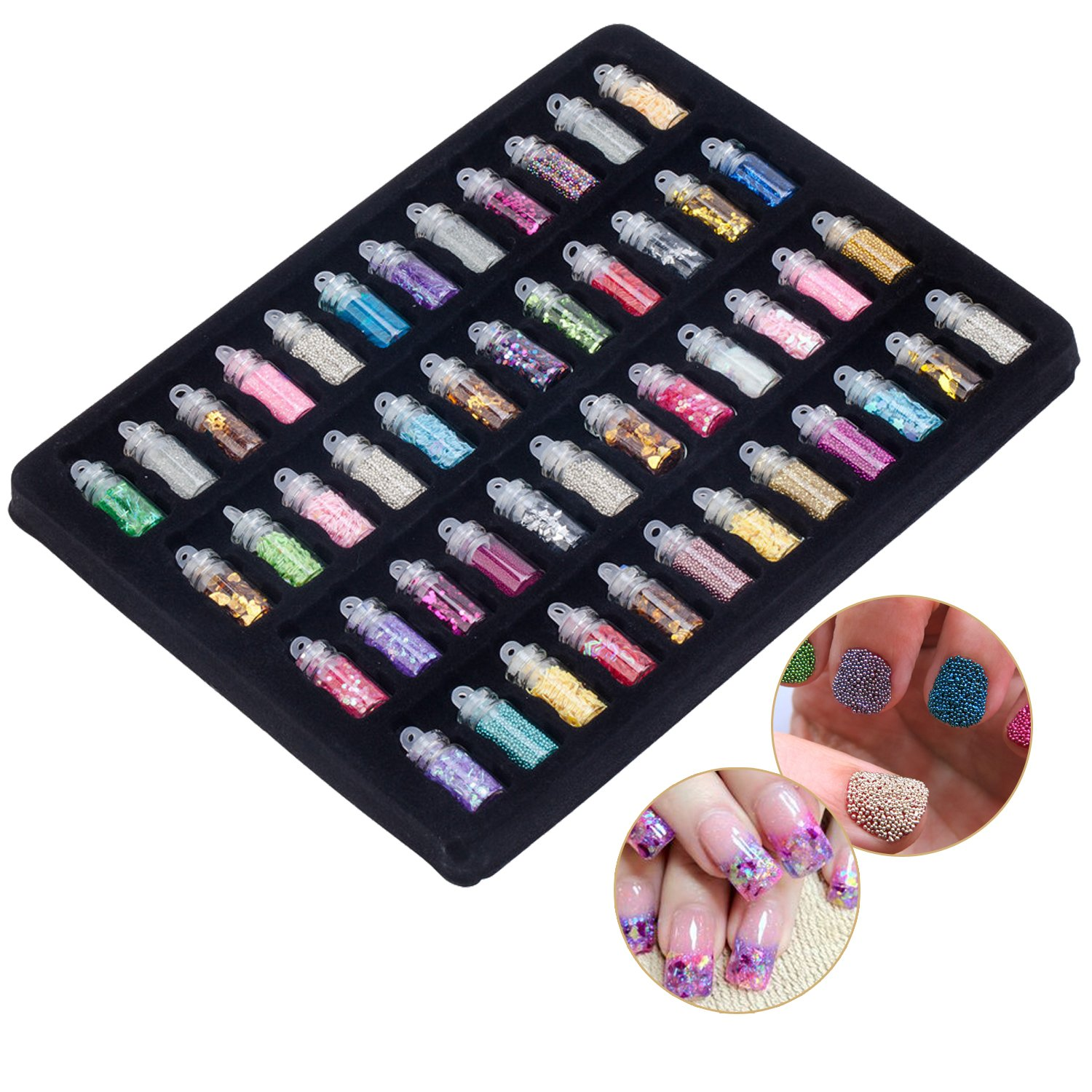Fantastic Deal Set of 48 Bottles With Colourful Premium Quality Manicure Nail Art Glitters / Paillettes, Caviars And Other Sparkly Decorations By VAGA