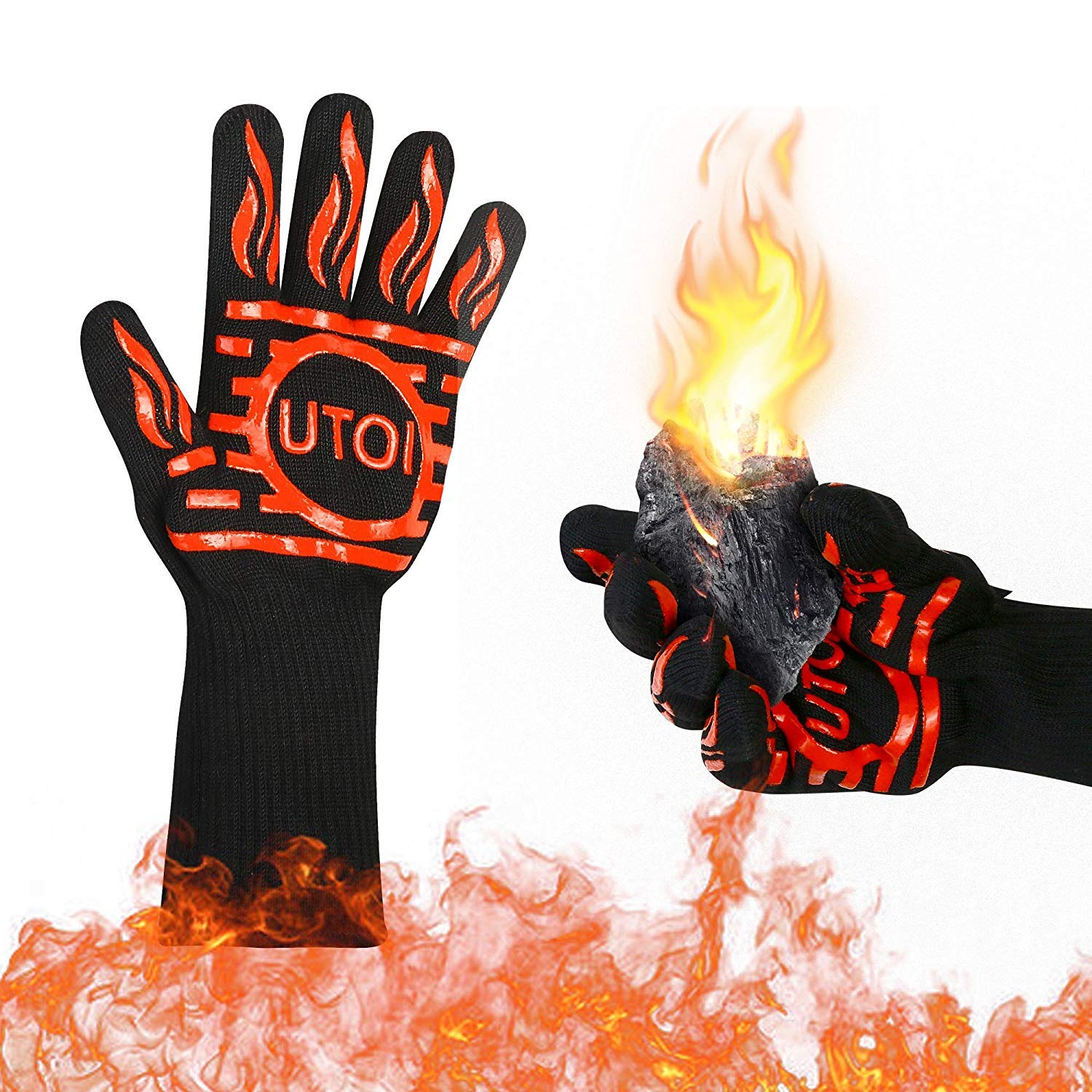 UTOI BBQ Grill Gloves, 1472°F Heat Resistant Barbecue Gloves Oven Mitts for Kitchen Garden BBQ Grilling and Outdoor Cooking Campfire, EN407 Certified, 1 Pair 13 inch Long Extra Forearm Protection by UTOI