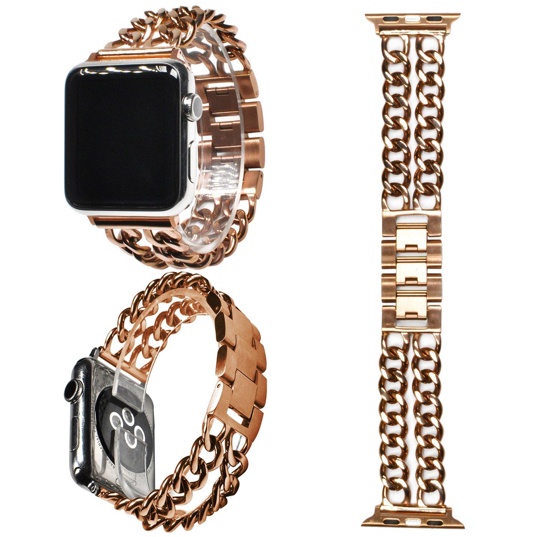 ウォッチバンド アップルに対応,ZXK CO ウォッチ交換ベルト ステンレススチール製 ビジネス 腕時計交換ベルト Apple Watch Series 3/2/1に対応 腕時計ストラップ 高級感 38mm/42mm専用 B07795XZD7 42mm ローズゴルード ローズゴルード 42mm