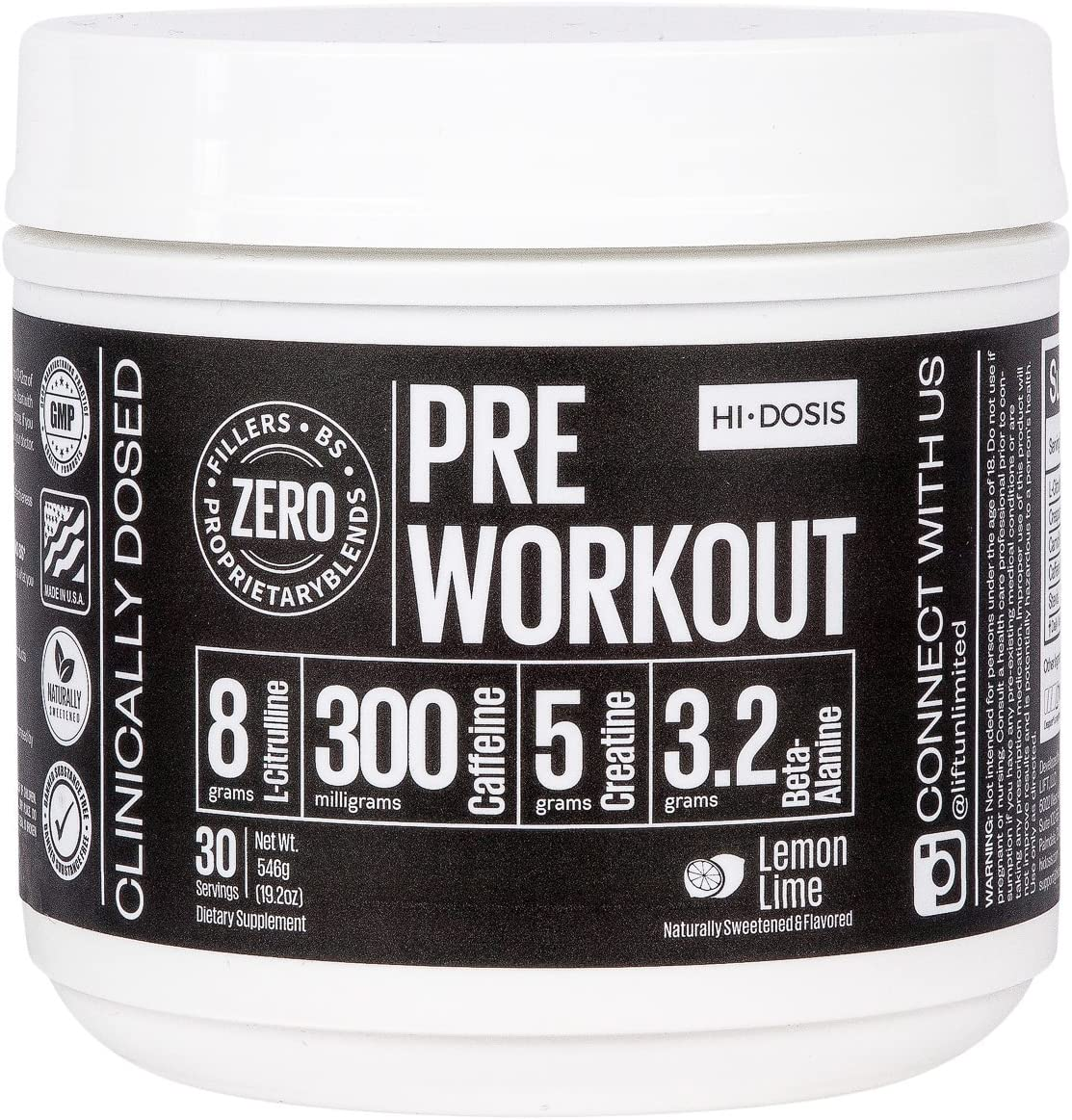 Hi-Dosis PRE Workout – All Natural Clinically dosed formulated preworkout powder for men women. Strongest supplement around to enhance your workout strength endurance Super Sour Lemon 30 Serv.