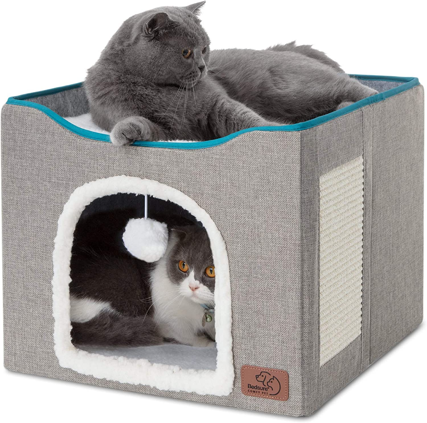 Bedsure Cat Cube, Foldable Cat Cubes for Indoor Cats, Cat House Indoor - Large Cat Bed with Fluffy Ball Hanging and Scratch Pad, 16.5x16.5x14 inches, Grey