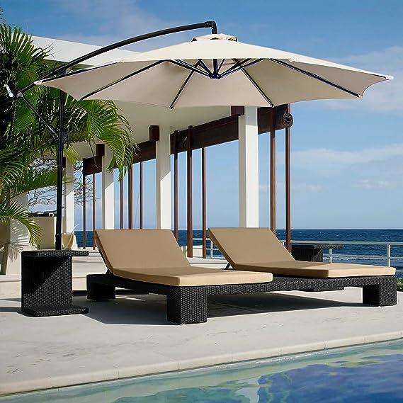 Yellowshop. Sombrilla de jardín. Diámetro 3 x 3 m. Excéntrico, en acero de exterior; muebles de piscina, glorietas/carpas, terraza, bar, hotel, balcón.: Amazon.es: Bricolaje y herramientas