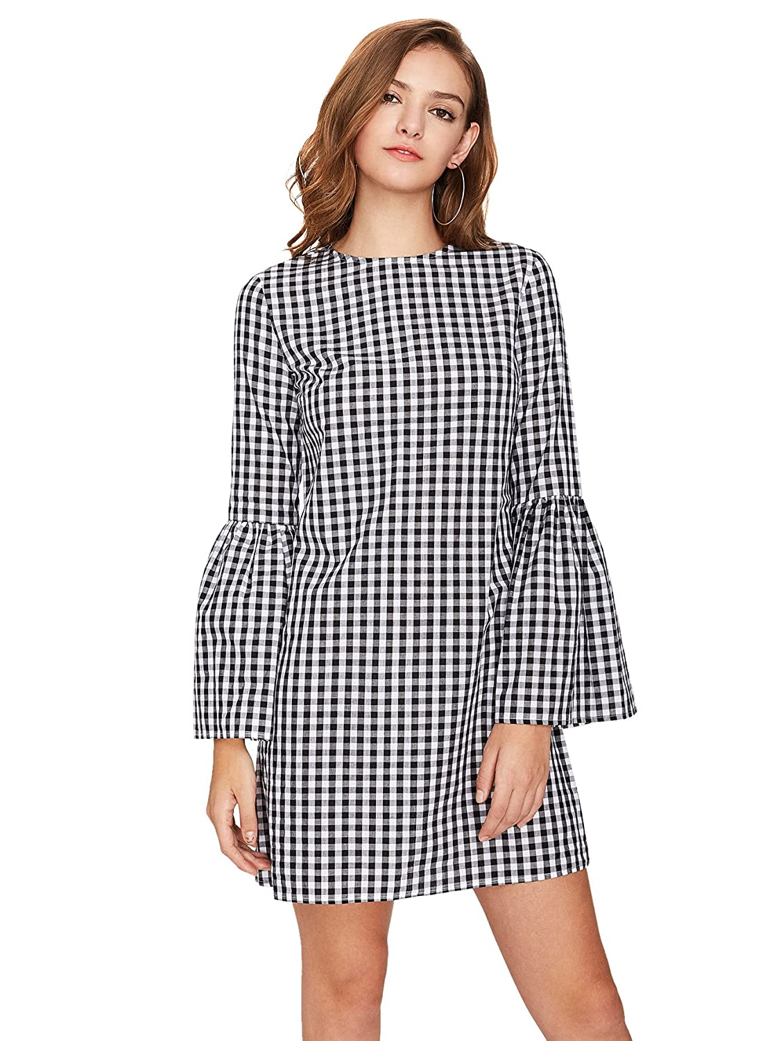 6e8be9cfa8a Floerns Women s Bell Long Sleeve Shift Gingham Dress at Amazon Women s  Clothing store