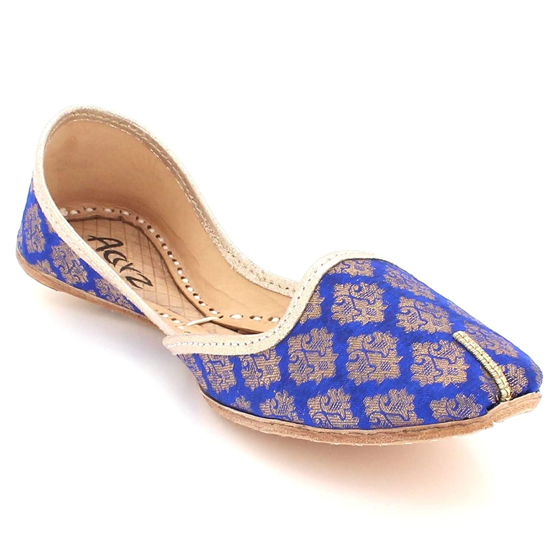 AARZ LONDON Frau Damen Traditionell Ethnisch Braut Handarbeit Leder Flache Khussa Indische Jutti Mojari Pumpen Schlüpfen Schuhe Größe B07CT7FVLZ