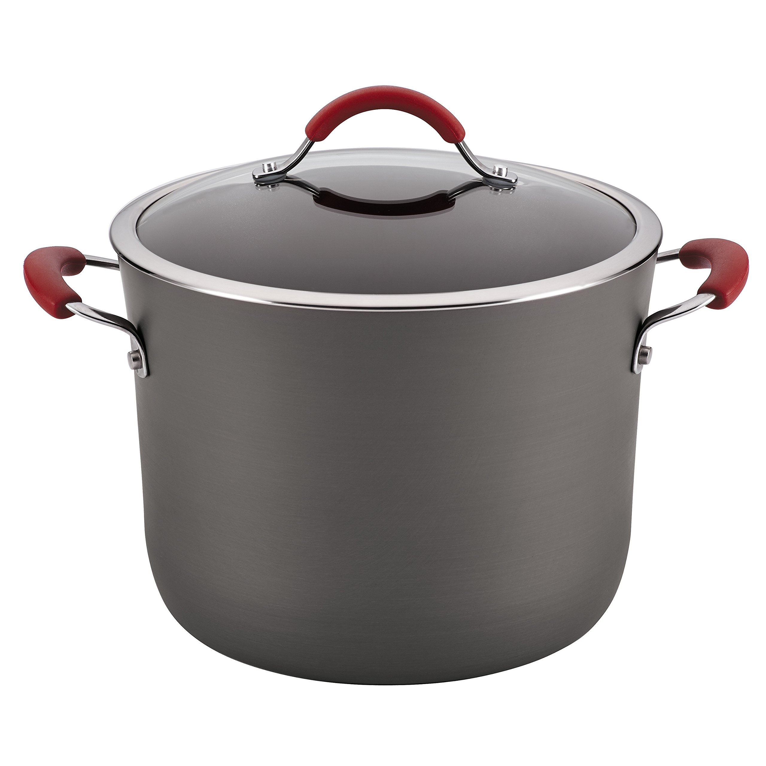 Rachael Ray Cucina Hard-Anodized Nonstick Covered Stockpot, 10-Quart, Gray, Cranberry Red Handles