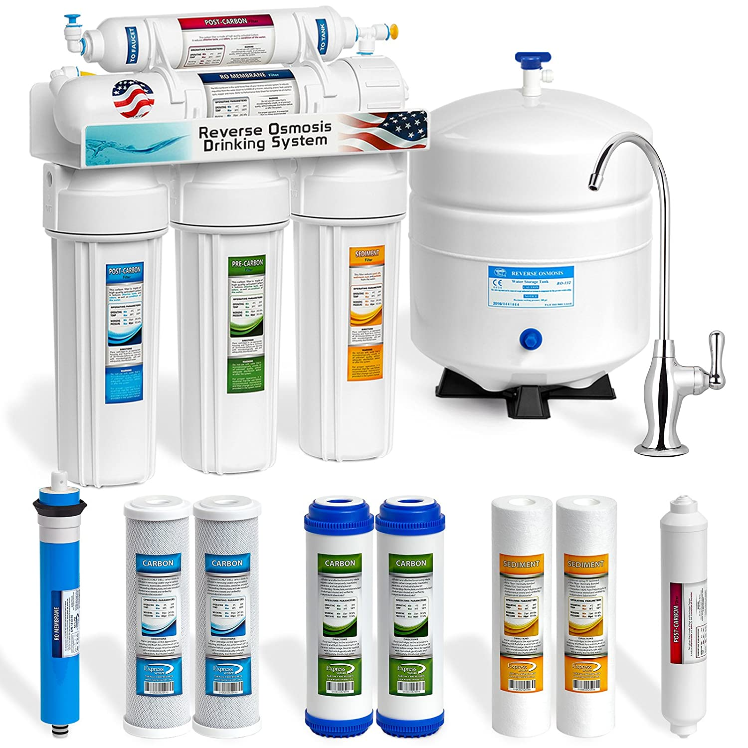 Express Water RO5DX 5 Stage Undersink Reverse Osmosis Drinking