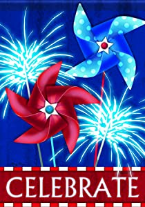 Carson Home Accents FlagTrends Glitter Garden Flag, 13 by 18-Inch, Patriotic Pinwheels