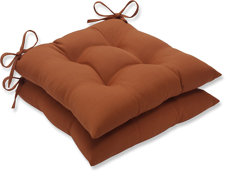 Pillow Perfect Outdoor Cinnabar Tufted Seat Cushion, Burnt Orange, Set of 2