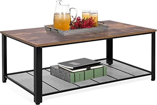 Best Choice Products 42in 2-Tier Rustic Industrial Coffee Cocktail Table, Living Room Accent Furniture w Wood Finish Top, Metal Mesh Storage Shelf, Adjustable Feet
