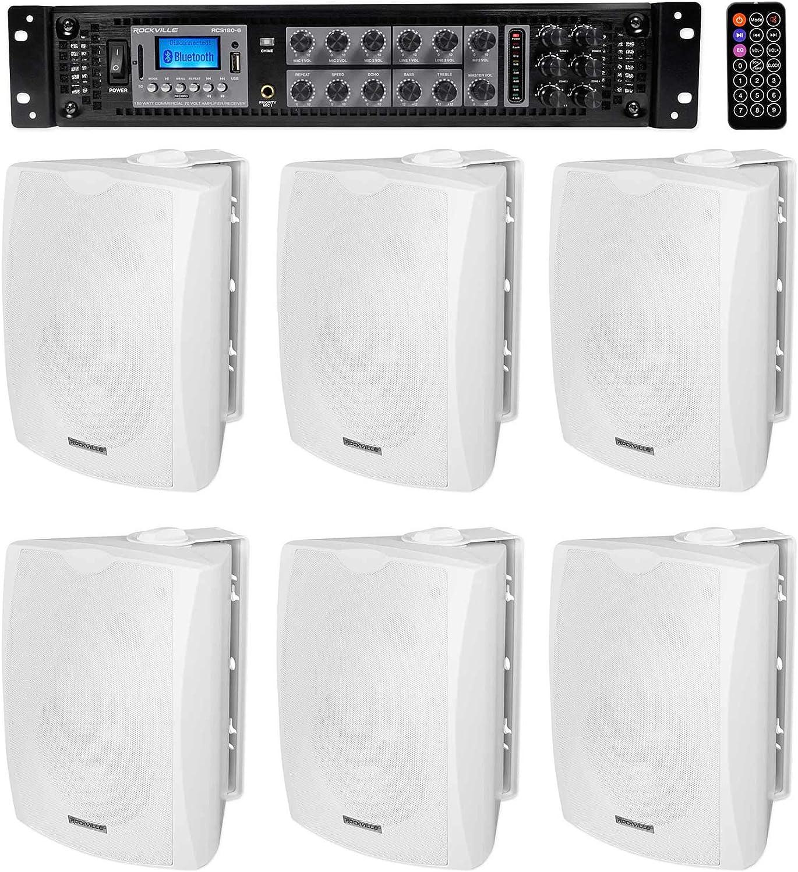 "Rockville WET-5W 70V 5.25/"" IPX55 White Commercial Indoor//Outdoor Wall Speaker 6"