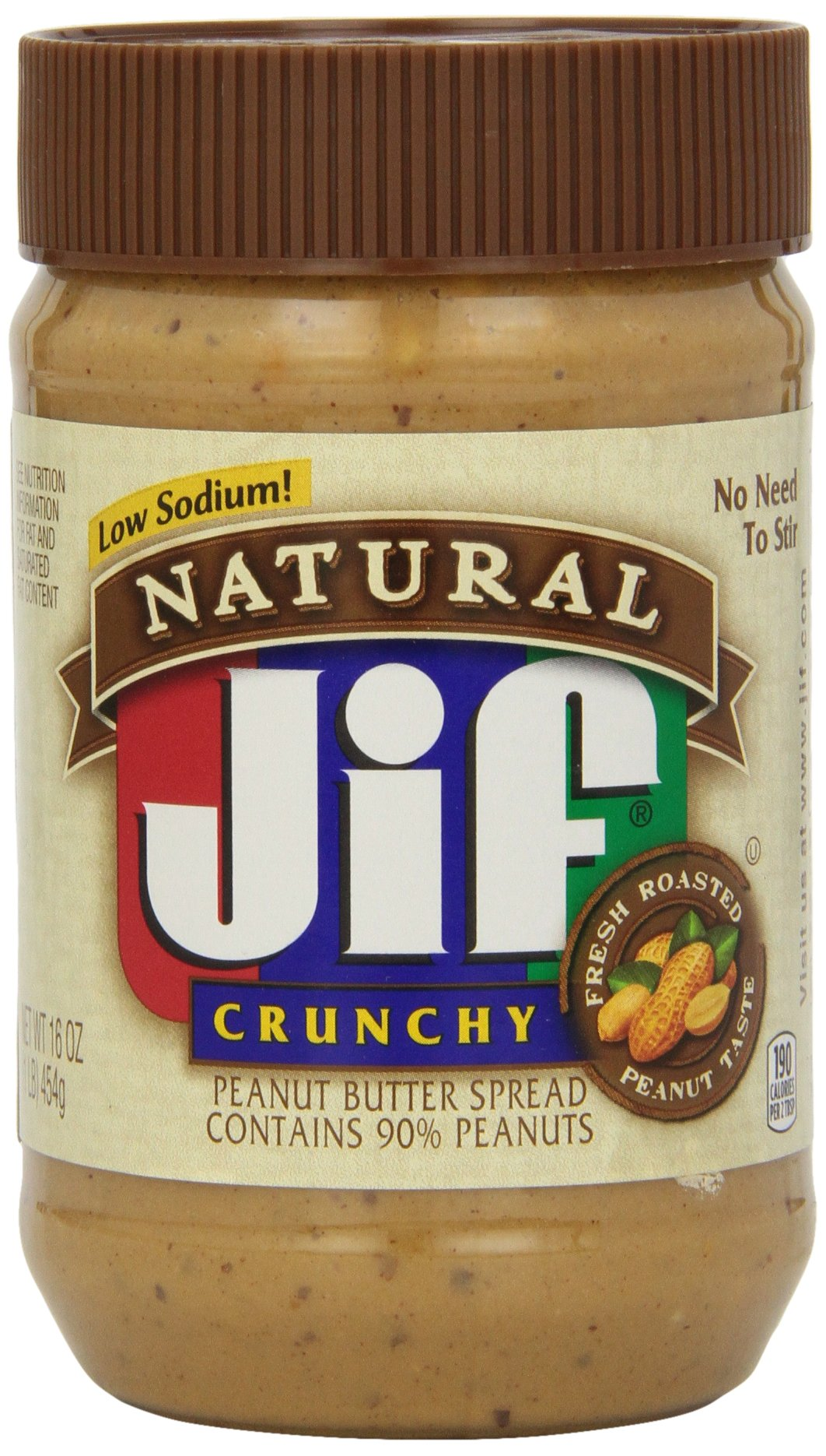 Jif Natural Crunchy Peanut Butter Spread, 16 Ounce (Pack of 12)