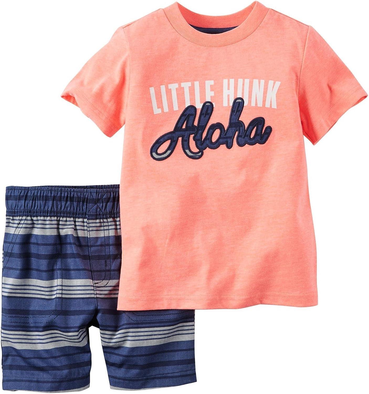 New Carter/'s Toddler Baby Boys 2Pc Printed Cotton Shirt /& Shorts Set Playwear