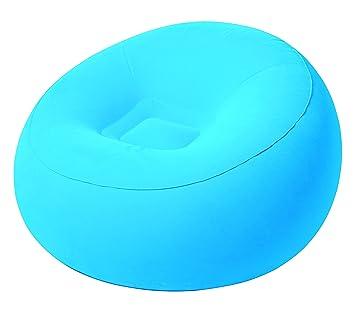 MovilCom® - Sillón Hinchable Silla Individual | Asiento Hinchable Interior Exterior | Relax Comfort - Azul