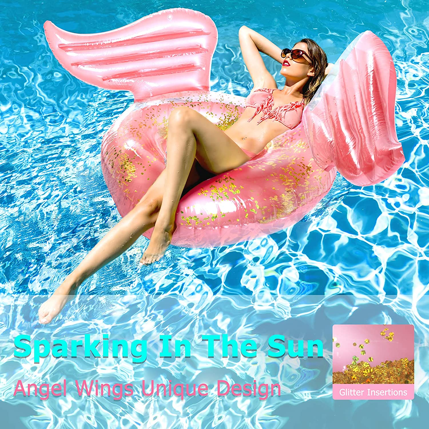 JLCCKJJS Inflatable Pool Floats with Glitter Angel Wings Sparkle Swimming Float Tubes Glitter Transparent Lounger for Kids Adults Swim Toys for Summer Pool Party Decoration Swim Rings for Fun Beach