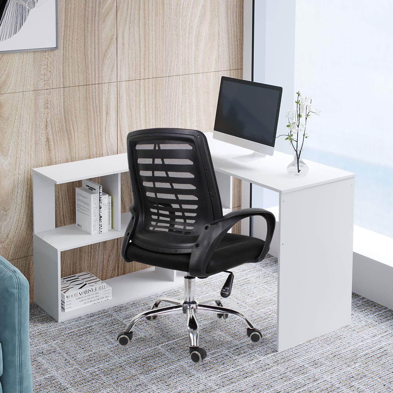 postazione di Lavoro scrivania da Ufficio Tavolo da Gioco Beliwin Scrivania ad Angolo Rotante per Computer per casa e Ufficio Bianco