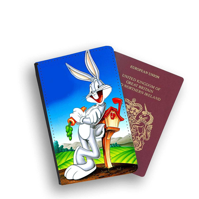 Looney Tunes Bugs Bunny Porte-Passeport en Similicuir et /étiquette de Bagage Blanc Black with White Face Luggage tag