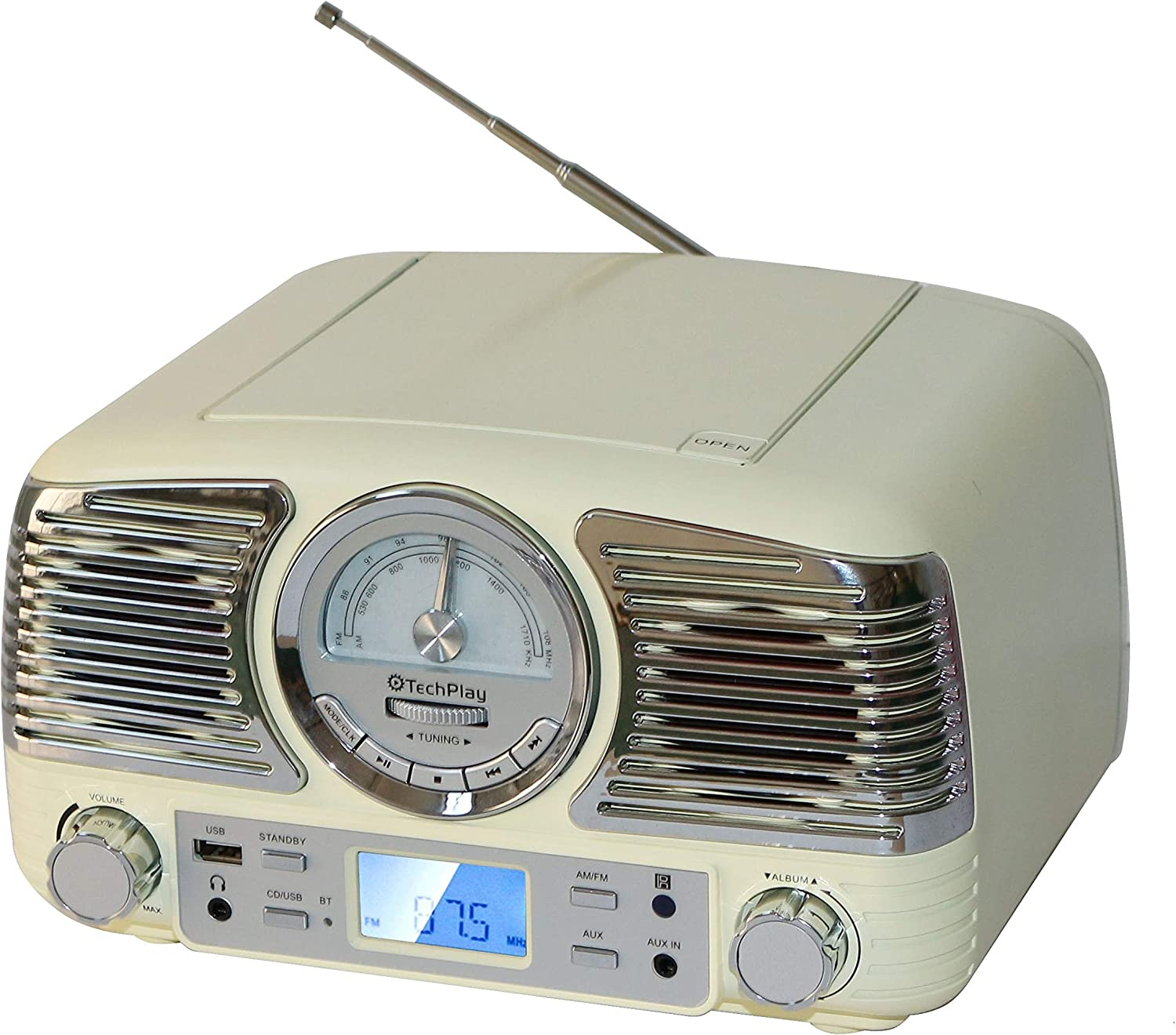 TechPlay QT62BT, Retro Design Compact Stereo CD, with AM/FM Rotary knob, Wireless Bluetooth Reception, and USB Port. with AUX in and Headphone Jack